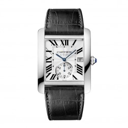 Cartier Tank MC Large Size Stainless Steel Watch on Leather Strap W5330003