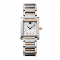 Cartier Tank Française 18K Rose Gold & Steel Medium Size Watch Diamond Dial WE110005