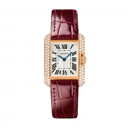 Cartier Tank Anglaise 18K Rose Gold Watch Diamond Bezel on Strap WT100013
