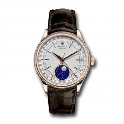 Rolex Cellini Moonphase 18K Rose Gold Watch on Leather Strap 50535