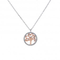 0.50 Carat Look Cubic Zirconia Circle Pendant Two Tone Sterling Silver Chain