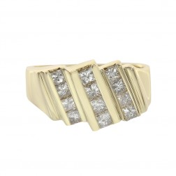 1.20 Carat Princess Cut Channel Setting Diamonds Mens Ring 14K Yellow Gold
