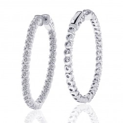 3.50 Carat Cubic Zirconia Inside/Outside Hoop Earrings In Platinum Over Silver