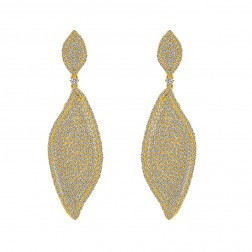 4.00 Carat Micro Pave Chandelier Earrings set it 18K Yellow Gold over Silver