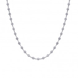 14.00 Carat Round Cut CZ By the Yard Necklace 14K White Gold
