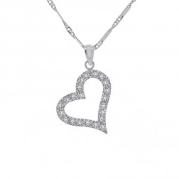 "0.65 Carat Cubic Zirconia Heart Pendant on 16"" Link Chain 14K White Gold"