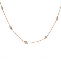 0.85 Carat Round Cut Diamonds By The Yard Necklace 14K Rose Gold