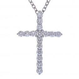 "2.25 Carat Round Diamond Cross on 20"" Cable Chain 14K White Gold"