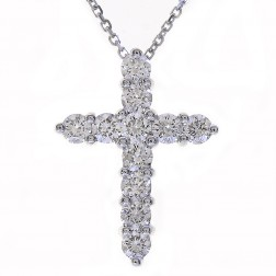 "1.20 Carat Round Diamond Cross on 16"" Cable Chain 14K White Gold"