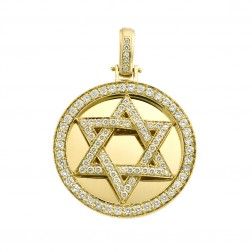 3.45 Carat Star of David Pave Set Diamond Pendant 14K Yellow Gold 22.5 gr