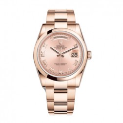 Rolex Day-Date 36 18K Everose Gold Watch Pink Roman Dial 118205