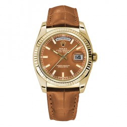 Rolex Day-Date 36 18K Yellow Gold Watch Cognac Index Dial 118138