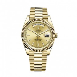 Rolex Day-Date 40 18K Yellow Gold Watch Champagne Index Dial 228238