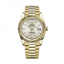 Rolex Day-Date 40 18K Yellow Gold Watch Silver Motif Dial 228238