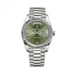 Rolex Day-Date 40 18K White Gold Watch Green Roman Dial 228239