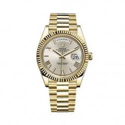 Rolex Day-Date 40 18K Yellow Gold Watch Silver Roman Dial 228238
