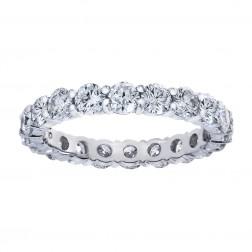 2.25 Carat Round Cut Diamond Eternity Band Ring 14k White Gold