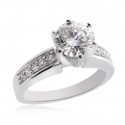 1.95 Carat J-SI3 Natural Round Cut Diamond Engagement Ring 14K White Gold