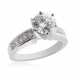 1.95 Carat J-SI3 Natural Round Cut Diamond Engagement Ring 14K White Gold