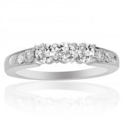0.75 Carat G-SI1 Round Cut Diamond Three Stone Engagement Ring 14K White Gold