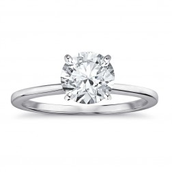 2.24 Carat Round Brilliant Cut Diamond Solitaire Engagement Ring 14K White Gold