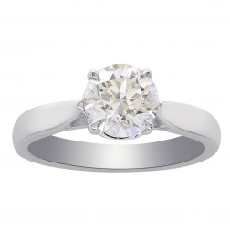 1.01 Carat Round Brilliant Cut Diamond Solitaire Engagement Ring 14K White Gold
