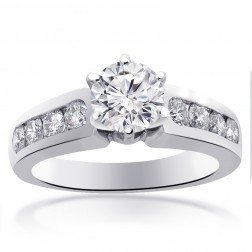 1.75 Carat G-SI1 Natural Round Cut Diamond Engagement Ring 14K White Gold