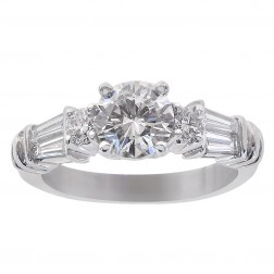 1.55 Carat Round/Baguette Cut Diamond Engagement Ring Platinum