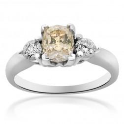 1.50 Carat VS2 Cushion Cut Fancy Brown Diamond Engagement Ring 14K White Gold