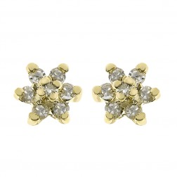 0.10 Carat Diamond Flower Stud Earrings 14K Yellow Gold