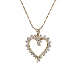 0.75 Carat Diamond Heart Pendant Necklace 14K Yellow Gold