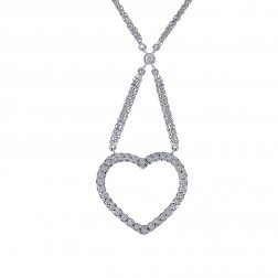 0.50 Carat Round Cut Diamond Heart Necklace 14K White Gold