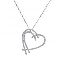 0.50 Carat Round Cut Diamond Heart Pendant Necklace 14K White Gold