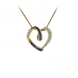 0.40 Carat Diamond & 0.35 Carat Sapphire Heart Pendant Necklace 14K Yellow Gold