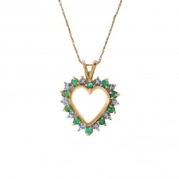 0.30 Carat Emerald And Diamond Accent Heart Shape Necklace 10K Yellow Gold