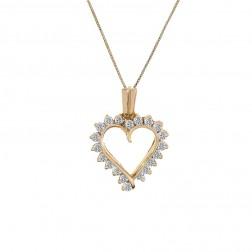 0.60 Carat Diamond Heart Shape Pendant Necklace 14K Yellow Gold