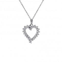 0.50 Carat Round Cut Diamond Heart Pendant in 14K White Gold