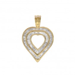3.00 Carat Diamond Heart Shape Baguette Pendant 14K Yellow Gold