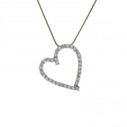 1.00 Carat Round Cut Diamond Heart Pendant on Spiga Link Chain 14K Yellow Gold