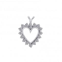 0.40 Carat Prong Set Diamond Heart Pendant 14K White Gold 1.6gr