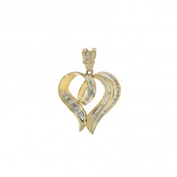 0.35 Carat Round Cut Diamond Heart Pendant 14K Yellow Gold