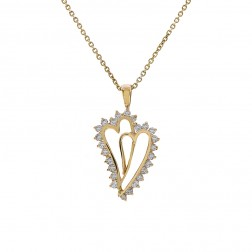 0.39 Carat Round Cut Diamond Double Heart Pendant On Rolo Link Chain 14K Yellow Gold