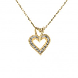 0.15 Carat Round Cut Diamond Heart Pendant 10K Yellow Gold On Cable Link Chain 14K Yellow Gold