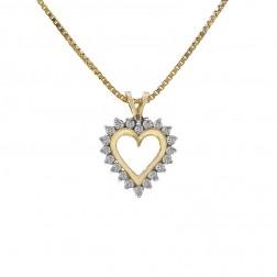 0.35 Carat Round Cut Diamond Heart Pendant On Box Link Chain 14K Yellow Gold