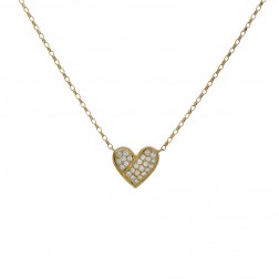 0.60 Carat Round Brilliant Diamond Heart Pendant On Cable Link Chain 14K Yellow Gold