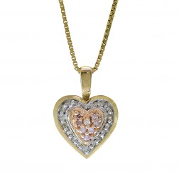 0.15 Carat Round Cut Diamond Heart Pendant On Box Link Chain 14K Tri Tone Gold