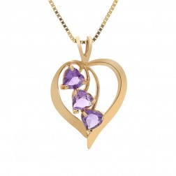 1.25 Carat Amethyst Gemstones Heart Pendant 10K Yellow Gold