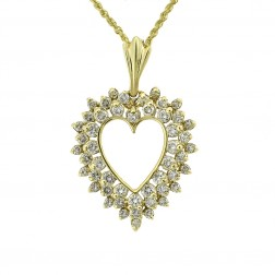 1.90 Carat Round Cut Diamond Heart Pendant in 14K Yellow Gold