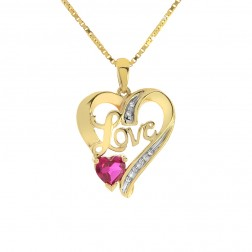 0.50 Carat Diamond with Ruby Love Heart Pendant 10K Yellow Gold