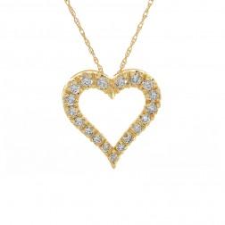 1.02 Carat Round Cut Diamond Heart Pendant on Wheat Link Chain 14K Yellow Gold